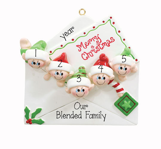 CHRISTMAS CARD~Family of 5 - Personalized Christmas Ornament