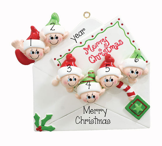 "Family of 6 ""Christmas Card""~Personalized Christmas Ornament"