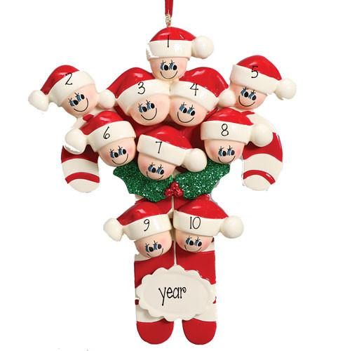 Candy Cane Family/Group of 10 - Personalized Ornament