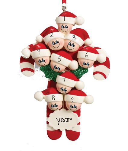 CANDY CANE Family/Group of 9 ~Personalized Christmas Ornament
