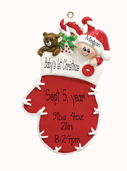 baby boys 1st christmas in red mitten my personalized ornaments