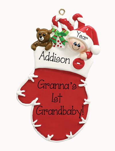Baby in red Mitten - Personalized Ornament