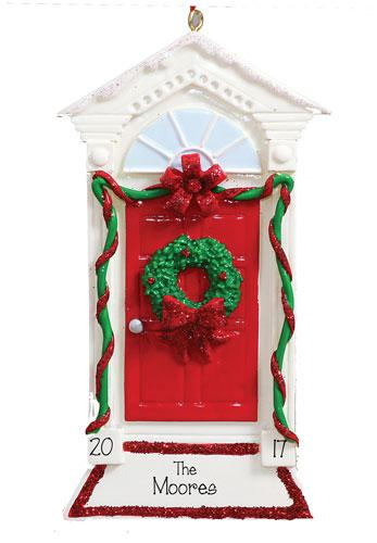 CHRISTMAS WREATH ON RED DOOR ORNAMENT