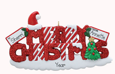 "Red Glittered ""Merry Christmas""-Personalized Ornament"