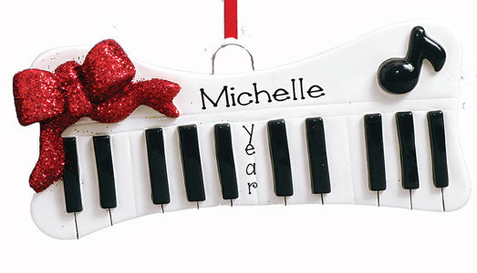 KEYBOARD WITH RED GLITTER BOW ORNAMENT, MY PERSONALIED ORNAMENTS