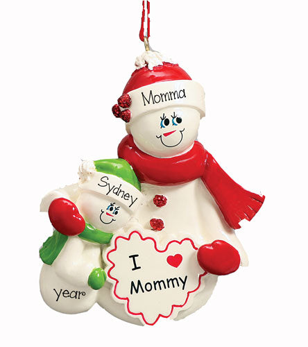 I LOVE MOMMY PERSONALIZED ORNAMENT, MY PERSONALIZED ORNAMENTS