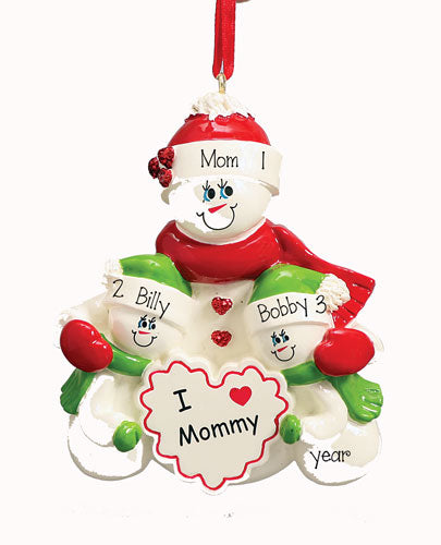 I LOVE MOMMY WITH 2 KIDS PERSONALIZED ORNAMENT, MY PERSONALIZED ORNAMENTS