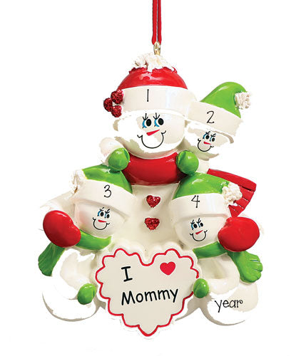 I LOVE MOMMY with 3 children PERSONALIZED ORNAMENT, MY PERSONALIZED ORNAMENTS