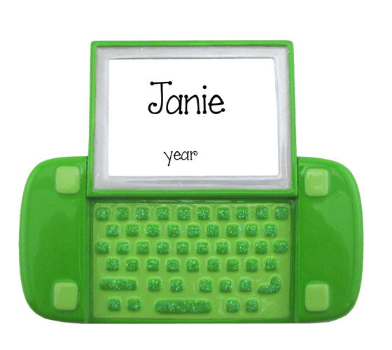 Green Laptop - Personalized Ornament
