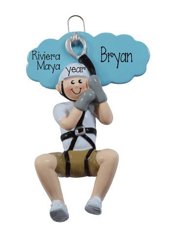 MALE ZIPLINE - Personalized Christmas Ornament