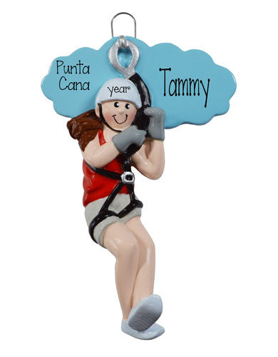 FEMALE ZIP LINE ORNAMENT / MY PERSONALIZED ORNAMENTS