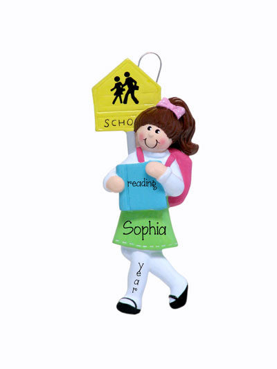 Personalized SCHOOL GIRL w/ BOOKS Ornament