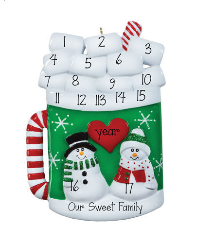 "Family of 10 up to 17 ""Hot Chocolate Mug"" Ornament"