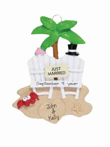 JUST MARRIED Destination wedding or Honeymoon Ornament
