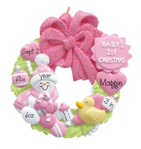 Baby Girl Wreath - 1st Christmas Ornament