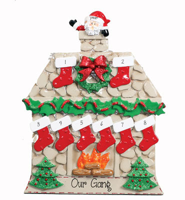 TABLETOP DECOR'~Fireplace w/ santa~Family of 8