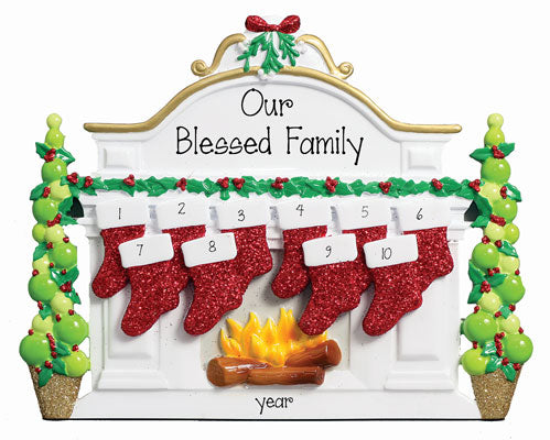 TABLETOP DECOR' Fireplace MantLE Family OF 9 / MY PERSONALIZED ORNAMENT