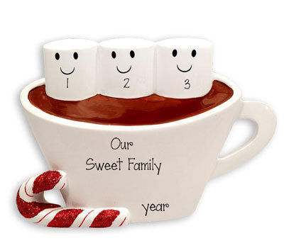 Family of 3 Hot Chocolate with Marshmallows~Personalized Table Topper