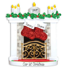 2 STOCKINGS HANGING ON MANTLE - Ornament