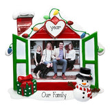 Red and Green House Photo Frame with a snowman on the porch