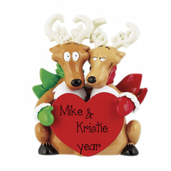 TABLE TOP DECOR REINDEER COUPLE / MY PERSONALIZED ORNAMENT
