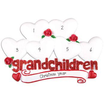 6 Grandchildren with Red Glitter~Personalized Table Topper