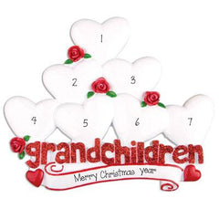 7 Grandchildren with Red Glitter~Personalized Table Top Decor`