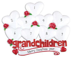 9 Grandchildren with Red Glitter~Personalized Table Top Decor`