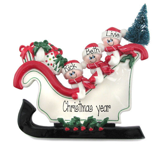 TABLETOP DECOR FAMILY OF 3 IN A SLEIGH / MY PERSONALIZED ORNAMENT