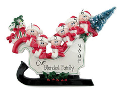 FAMILY OF 6 SLEIGH TABLETOPPER/ MY PERSONALIZED ORNAMENTS