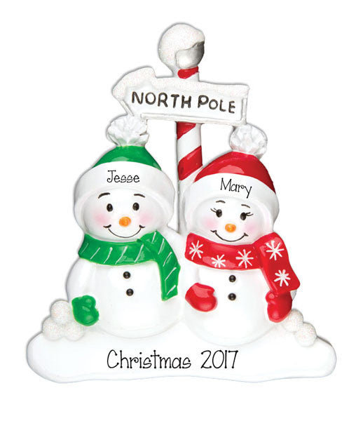 SNOWMAN Couple - Personalized Christmas Ornament