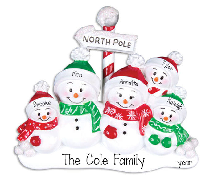 FAMILY OF 5 SNOWMEN Personalized Ornament