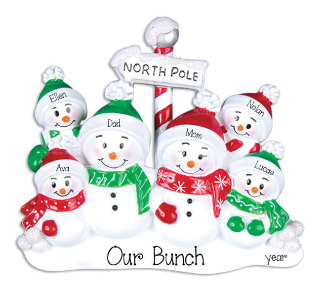 Family of 6 SNOWMEN~Personalized Christmas Ornament