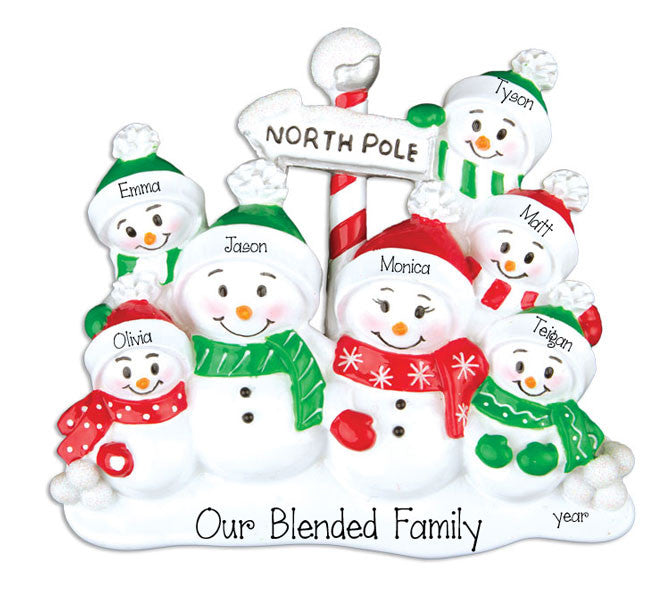 SNOWMAN FAMILY OF 7, personalized ornaments