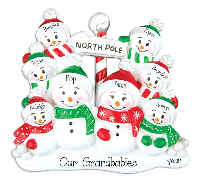 FAMILY OF 8 SNOWMEN Personalized Ornament