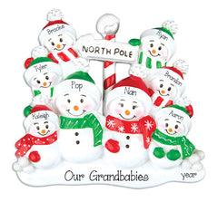 SNOWMAN FAMILY OF 8, personalized ornaments