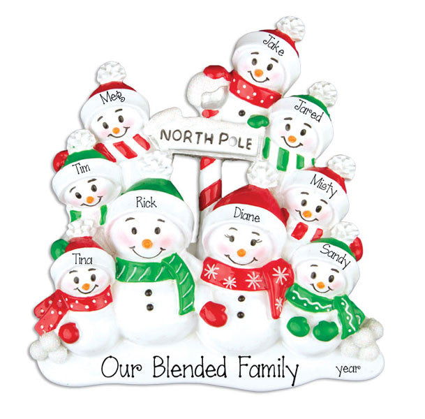 SNOWMAN FAMILY OF 9, personalized ornaments