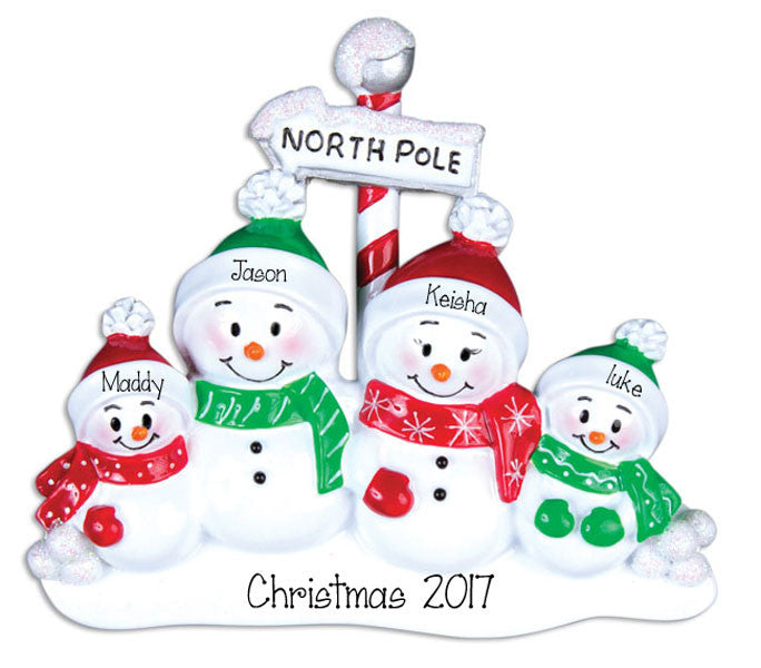 SNOWMAN FAMILY OF 4 , personalized ornaments
