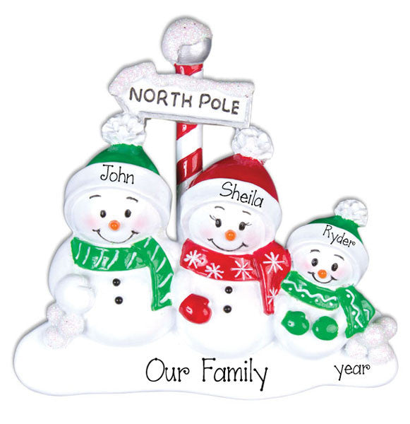 Family of  3 SNOWMEN~Personalized Christmas Ornament