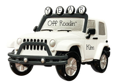White 4X4 JEEP~Personalized Christmas Ornament