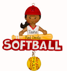 Ethnic/African American Female softball Player in Red- Personalized Ornament