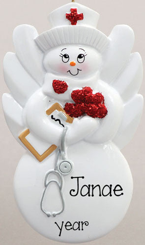 NURSE WITH ANGEL WINGS ORNAMENT / MY PERSONALIZED ORNAMENTS