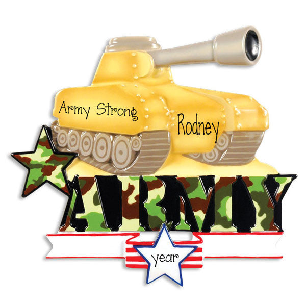 United States Army Tank, Personalized christmas Ornament