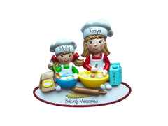 Little Girl Baking with Big Sister~Personalized Christmas Ornament