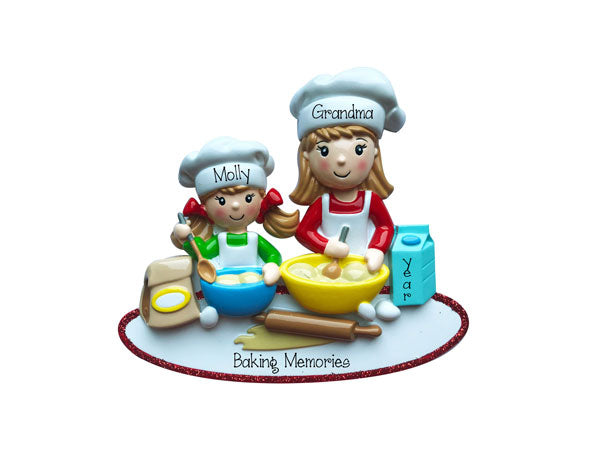 Little Girl Baking with Grandma~Personalized Christmas Ornament