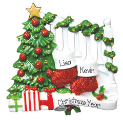 STOCKING COUPLE ON BANISTER/MYPERSONALIZEDORNAMENTS/CHRISTMAS ORNAMENTS
