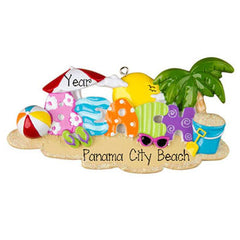 Beach with palm tree, my personalized christmas ornament