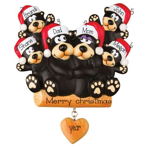 Black Bear Family of 6 ~ Personalized Christmas Ornament