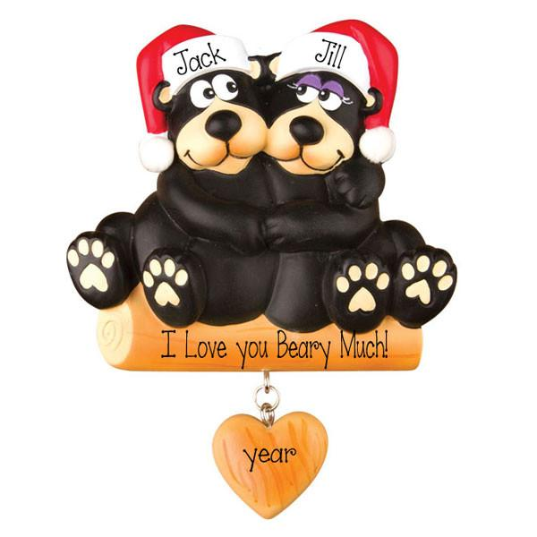 BLACK BEAR COUPLE~Personalized Christmas Ornament