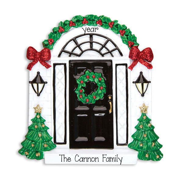 OUR HOME w/ BLACK DOOR Personalized Ornament
